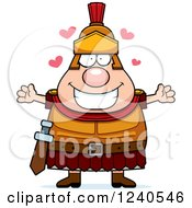 Clipart Of A Loving Roman Centurion With Open Arms And Hearts Royalty Free Vector Illustration by Cory Thoman