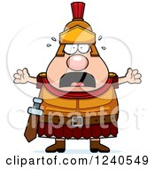 Clipart Of A Scared Screaming Roman Centurion Royalty Free Vector Illustration