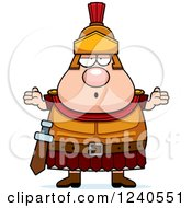 Clipart Of A Careless Shrugging Roman Centurion Royalty Free Vector Illustration