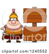 Clipart Of A Happy Roman Centurion With Wooden Signs Royalty Free Vector Illustration by Cory Thoman