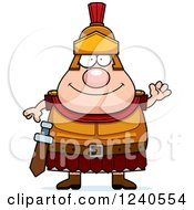 Clipart Of A Friendly Waving Roman Centurion Royalty Free Vector Illustration by Cory Thoman