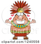 Clipart Of A Loving Aztec Chief King With Open Arms And Hearts Royalty Free Vector Illustration by Cory Thoman