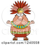 Clipart Of A Mad Aztec Chief King Holding Up Fists Royalty Free Vector Illustration by Cory Thoman