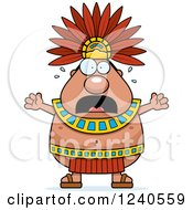 Clipart Of A Scared Screaming Aztec Chief King Royalty Free Vector Illustration