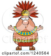 Clipart Of A Careless Shrugging Aztec Chief King Royalty Free Vector Illustration by Cory Thoman