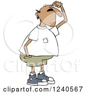 Clipart Of A Hispanic Man Scratching His Head Royalty Free Vector Illustration