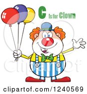 Clipart Of A Happy Clown With Balloons And C Is For Clown Text Royalty Free Vector Illustration by Hit Toon