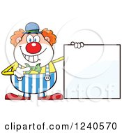 Clipart Of A Happy Clown Pointing To A Blank Sign Royalty Free Vector Illustration by Hit Toon