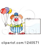Clipart Of A Happy Clown With Balloons And A Blank Sign Royalty Free Vector Illustration