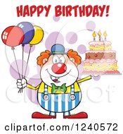 Happy Clown With Colorful Balloons And A Cake With Happy Birthday Text