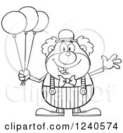 Clipart Of A Black And White Happy Clown With Balloons Royalty Free Vector Illustration