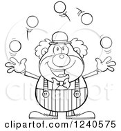 Clipart Of A Black And White Happy Clown Juggling Royalty Free Vector Illustration