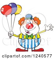 Clipart Of A Happy Clown With Colorful Balloons Royalty Free Vector Illustration