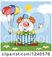 Clipart Of A Happy Clown With Colorful Balloons On A Sunny Day Royalty Free Vector Illustration