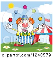 Clipart Of A Happy Clown Juggling At The Circus Royalty Free Vector Illustration