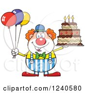 Clipart Of A Happy Clown With Colorful Balloons And A Birthday Cake Royalty Free Vector Illustration