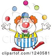 Clipart Of A Happy Clown Juggling Royalty Free Vector Illustration