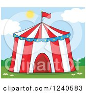 Clipart Of A Big Top Circus Tent On A Sunny Day Royalty Free Vector Illustration