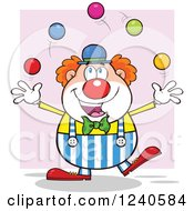 Clipart Of A Happy Clown Juggling Over Pink Royalty Free Vector Illustration