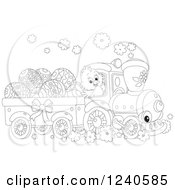 Clipart Of A Black And White Chick Driving A Train With Easter Eggs Royalty Free Vector Illustration