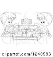 Clipart Of Black And White Boys Playing Table Hockey Royalty Free Vector Illustration by Alex Bannykh