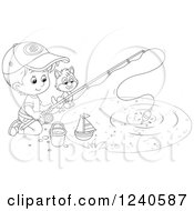 Clipart Of A Black And White Boy And Cat Fishing Royalty Free Vector Illustration