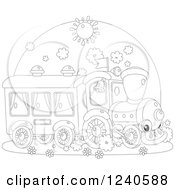 Clipart Of A Black And White Happy Train On A Sunny Day Royalty Free Vector Illustration