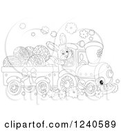 Clipart Of A Black And White Happy Rabbit Driving An Easter Train Royalty Free Vector Illustration