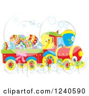 Clipart Of A Happy Chick Driving A Train With Easter Eggs Royalty Free Vector Illustration by Alex Bannykh