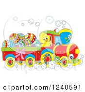 Clipart Of A Yellow Chick Driving A Train With Easter Eggs Royalty Free Vector Illustration