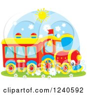 Clipart Of A Happy Train On A Sunny Day Royalty Free Vector Illustration