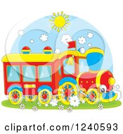 Clipart Of A Smiling Train On A Sunny Day Royalty Free Vector Illustration