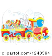 Clipart Of A Happy Rabbit Driving An Easter Train Royalty Free Vector Illustration by Alex Bannykh