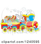 Clipart Of A Happy Bunny Rabbit Driving An Easter Train Royalty Free Vector Illustration