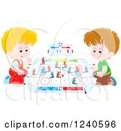 Clipart Of Caucasian Boys Playing Table Hockey Royalty Free Vector Illustration by Alex Bannykh