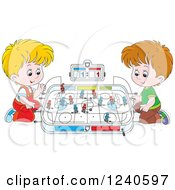 Clipart Of Two Caucasian Boys Playing Table Hockey Royalty Free Vector Illustration by Alex Bannykh
