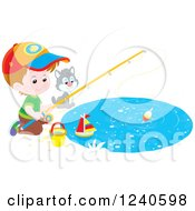 Clipart Of A Caucasian Boy And Cat Fishing Royalty Free Vector Illustration