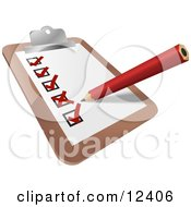 Red Pencil Xing Out Boxes Of Completed Tasks On A Checklist On A Clipboard Clipart Illustration by AtStockIllustration #COLLC12406-0021