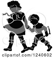 Clipart Of A Black And White Girl Holding Her Brothers Hand As They Walk To School Royalty Free Vector Illustration by pauloribau