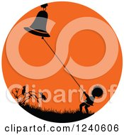 Clipart Of A Silhouetted Boy Ringing A Bell Over Crows In An Orange Circle Royalty Free Vector Illustration by pauloribau
