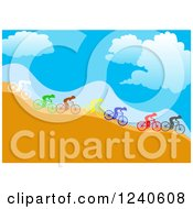 Clipart Of A Group Of Diverse Colorful Cyclists Going Down A Hillside Royalty Free Vector Illustration by pauloribau