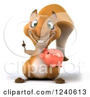Clipart Of A 3d Squirrel Holding A Finger Up And Piggy Bank Royalty Free Illustration
