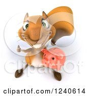 Clipart Of A 3d Squirrel Holding A Thumb Up And Piggy Bank Royalty Free Illustration