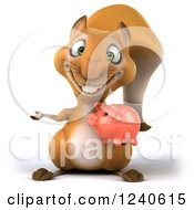 Clipart Of A 3d Squirrel Presenting And Holding A Thumb Up And Piggy Bank Royalty Free Illustration