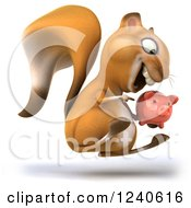 Clipart Of A 3d Squirrel Hopping And Pointing To A Piggy Bank Royalty Free Illustration