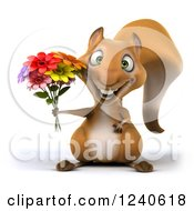 3d Squirrel Holding A Bouquet Of Flowers