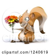 3d Squirrel Holding A Bouquet Of Flowers 2