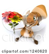 3d Squirrel Holding Up A Bouquet Of Flowers
