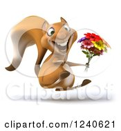 3d Squirrel Hopping And Holding A Bouquet Of Flowers