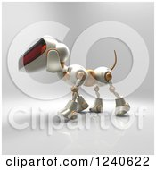 Clipart Of A 3d Robot Dog Walking 2 Royalty Free Illustration